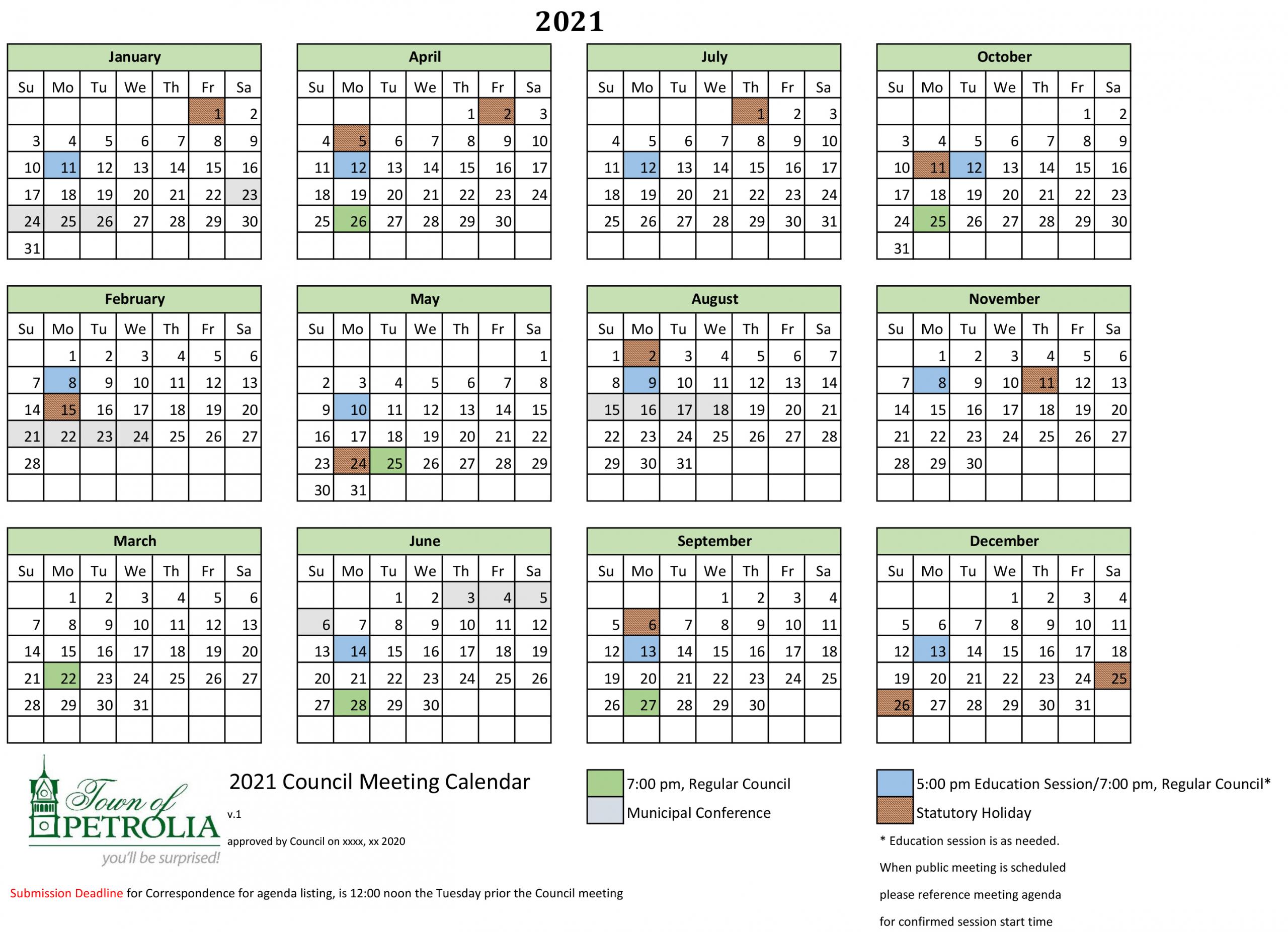 2021 Council Calendar